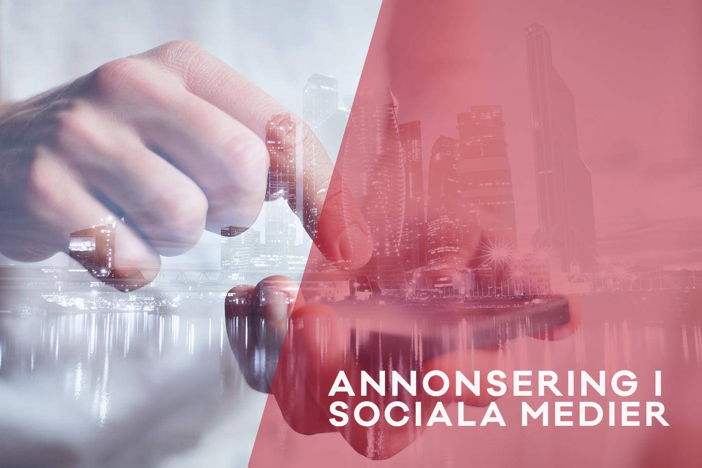 Annonsering i sociala medier. Hand och mobil